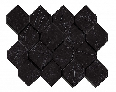 Marvel Nero Marquina Mosaico Esagono 3D (AS4B) 28,2X35,3 Керамогранит