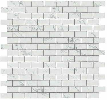 Marvel Carrara P. Mosaico Lapp. Burattato (AS34) 29,8X29,8 Керамогранит