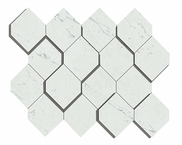 Marvel Carrara Pure Mosaico Esagono 3D (AS4A) 28,2X35,3 Керамогранит
